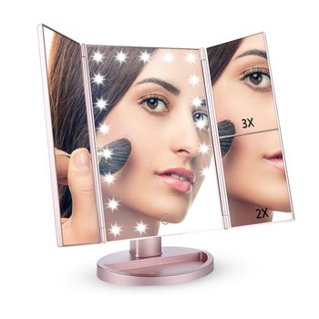 Illuminating Folding Cosmetic USB Charging Trifold LED Makeup Mirror with Touch Screen Battery Powered