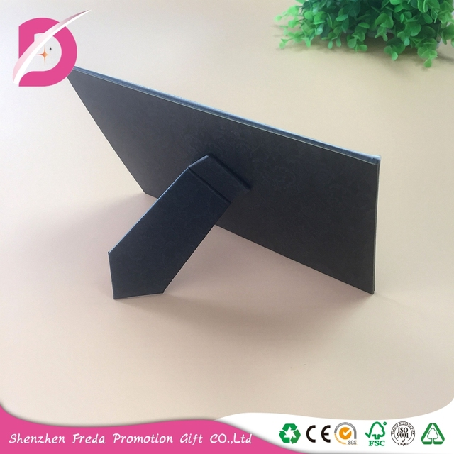 Customized rectangle black paper bracket photo frames for promotional gift