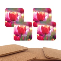 OEM anti slip hardboard and MDF cork backed custom print table mats and coasters