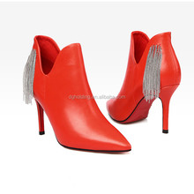 New Women High Heels Ankle Boots Genuine Leather Shoes Warm Short Autumn Fashion Botas