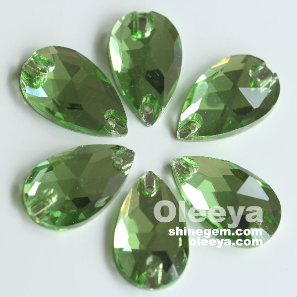 Hot Sale Teardrop pointback Peridot Crystal Sew On Rhinestones for Sewing Stones Clothing