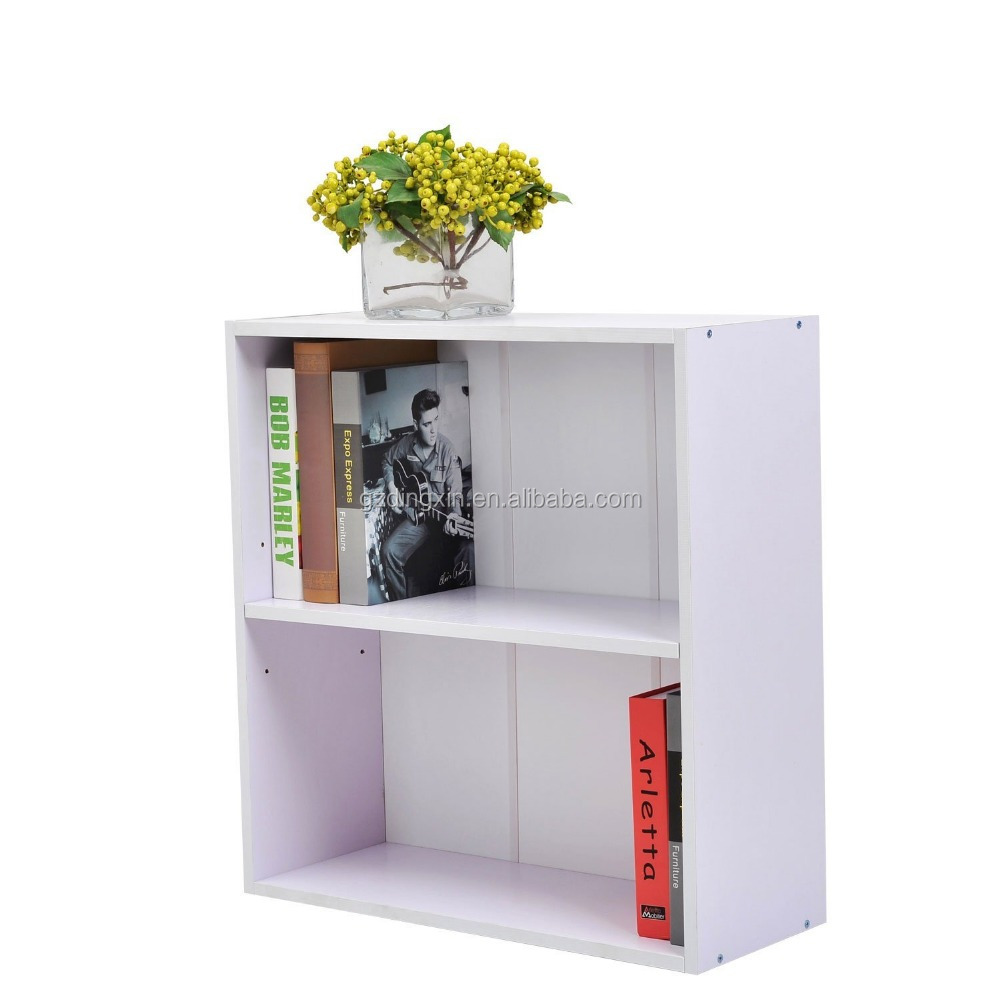 Wood 2 Tier Storage Unit Chest Bookshelf Bookcase Cupboard Cabinet Home Office Furniture New (White)