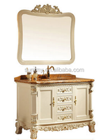 antique european style wooden mirror wash basin bathroom cabinet with marble top