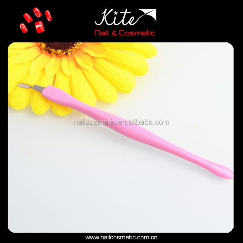 Pink color girls cuticle remover tweezer manicure nail cleaning tools