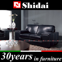 high qunality genuine leather black sectional sofa 961