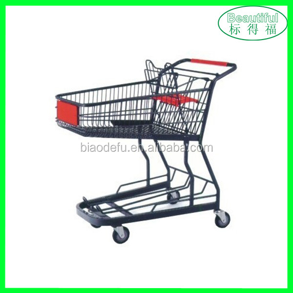 Hand Push Metal Shopping Cart/Trolley with Wheels