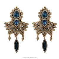 rhinestone women fashion earring antuique bronze earring latest jhumka hanging earrings design with price