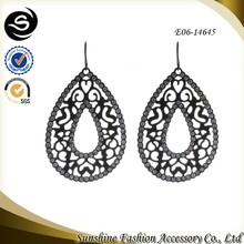Elliptic shaped earrings with classics black earrings plated in gun black costume jewelry earrings made in Yiwu