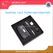 Luxury Business Gift Imitation Leather Foldable Name Card Holder Key Chains Pen Boxed Gift Set Gift Items
