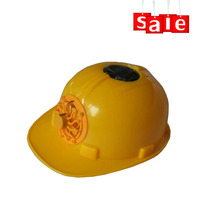 Yellow custom industrial safety helmet with solar fan