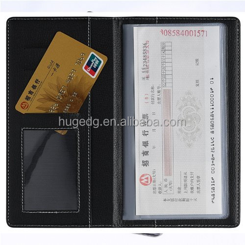 Business black Leather cheque holder PVC book ticket cover