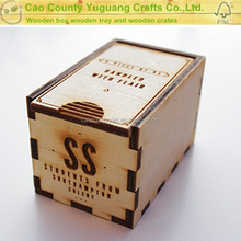 Mini wooden sliding lid gift box ,single bottle essential oil box
