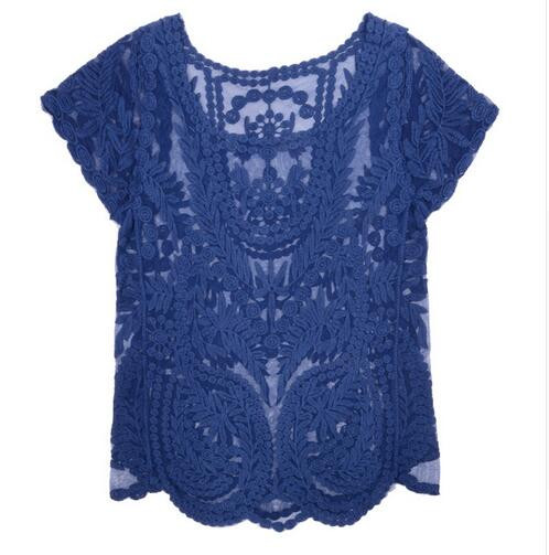 2017 newest casual sexy ladies hollow out crochet lace top wholes blusas femininas
