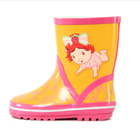 Rain Boot Girls Yellow Pink Print Kitty Picture New Style Rubber Water Shoes Rubber Sole Cheap Clear Brand Rain Boots China D117