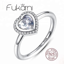 FKR088 Women's Sterling Silver Rings Heart Cubic Stone Inserted Diamond Engagement Ring