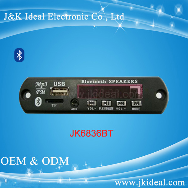 JK6836BT New arrival usb sd bluetooth mp3 amplifier board for audio player