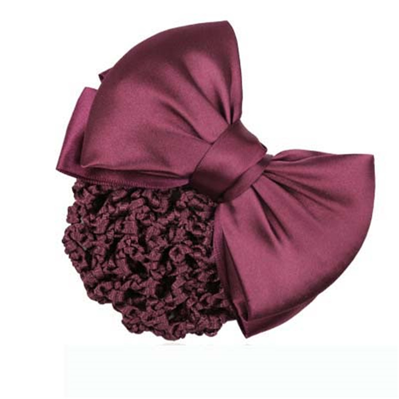 Women's Two-Way Snood Net satin bowknot Bow Barrette Hair Clip Bun Cover Set05