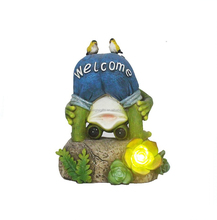 resin frog solar light with welcome sign and birds for garden decor