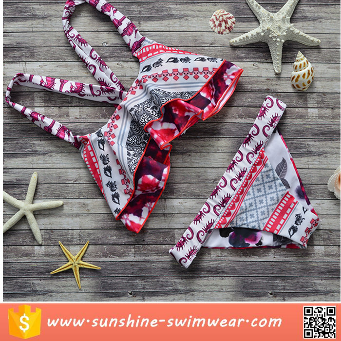 Wholesale Custom Totem Flouncing Young Girls Bikini Bra and Panty Bikini Swimwear Sexy