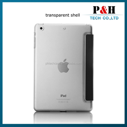 3 fold stand silk leather + transparent PC case for apple ipad mini 2