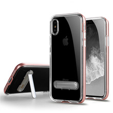 For IPhone X Case Ultra Slim Transparent Clear Armor Kickstand Hybrid Phone Case