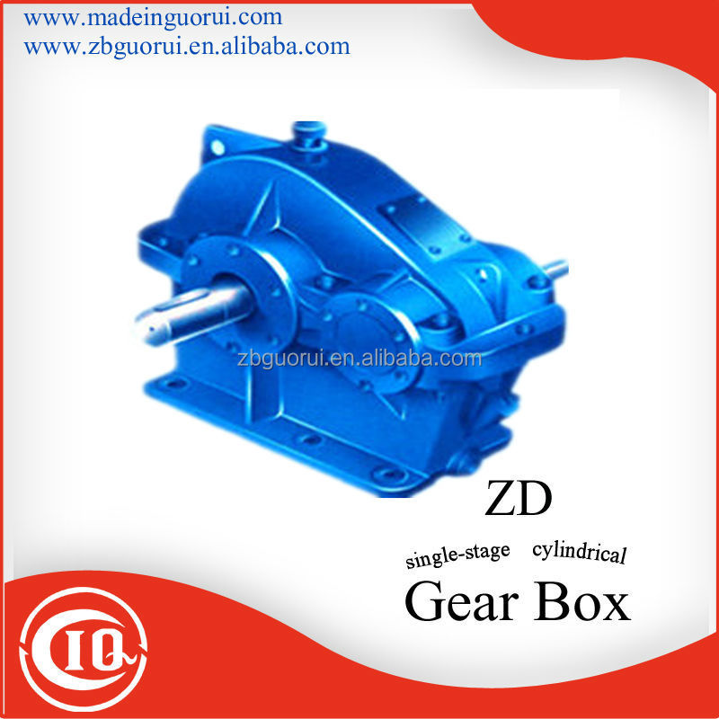 China standard ZD,ZL,ZS series cylindrical gearbox/ZD series Single Stages speed reduction gearbox used in cement plant