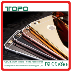 Aluminum metal bumper PC mirror back cover case cell phone case metal frame for iPhone 6 6s plus