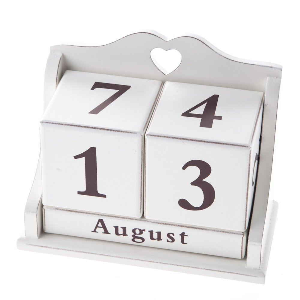 Creative shabby chic heart cut out wooden perpetual calendar for sale