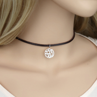 Leather Silver Pendant Choker Necklace Fashion