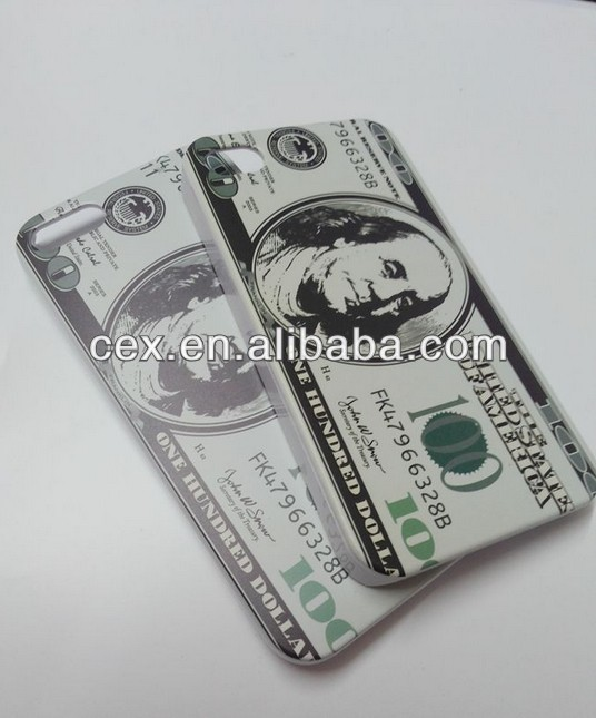 New Plastic 100 $ Hundred Dollar Bill Money Style Protective Case for Iphone 5