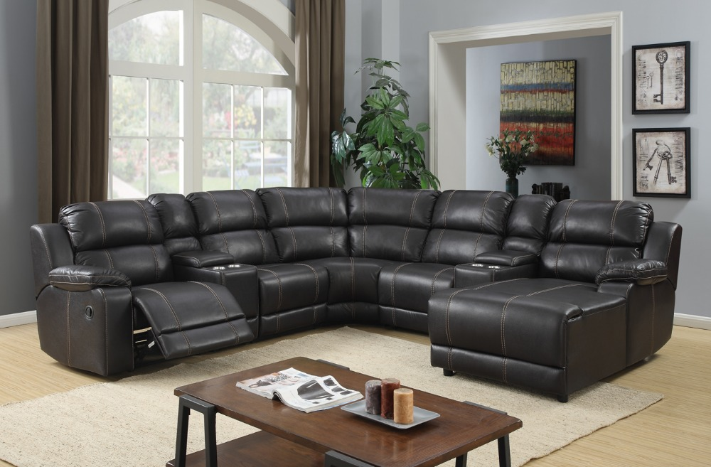 Modern l shape sofa set designs aviator leather sectional recliner sofa