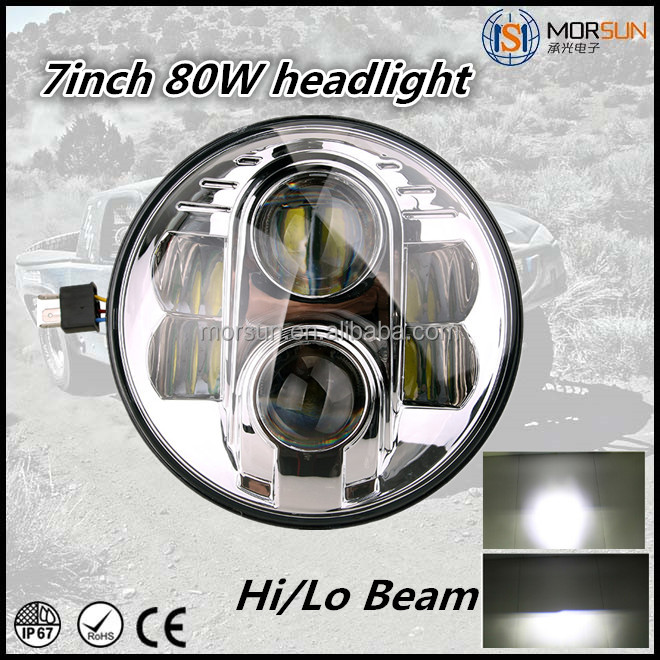 "Super Bright LED Headlights 7""round led headlight 80w H4 H7 healight for Jeep Wrangler"