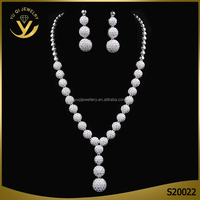 White Gold Plated Zircon Wedding Jewelry Bridal Earrings Necklace Jewelry Set