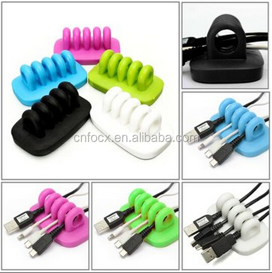 4-Port Desktop USB Cable Management Manager / Winder Clips Holder / Wire Cord organizer