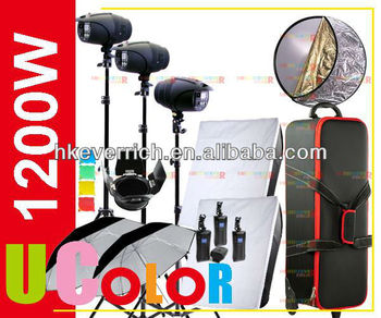1200W Strobe Studio Flash 400W x 3 Fan Coole Light Kit Lighting Photography Hard Carry Case