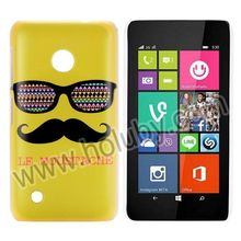 Fashion Slim PC Hard Back Yellow Mustache & Glasses Design Cheap No MOQ Case for Nokia Lumia 530