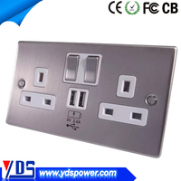 New design 5V 2A USB Wall Socket UK Style 250V 13A with 2 switches for India Singapore Malaysia Yemen Zimbabwe market