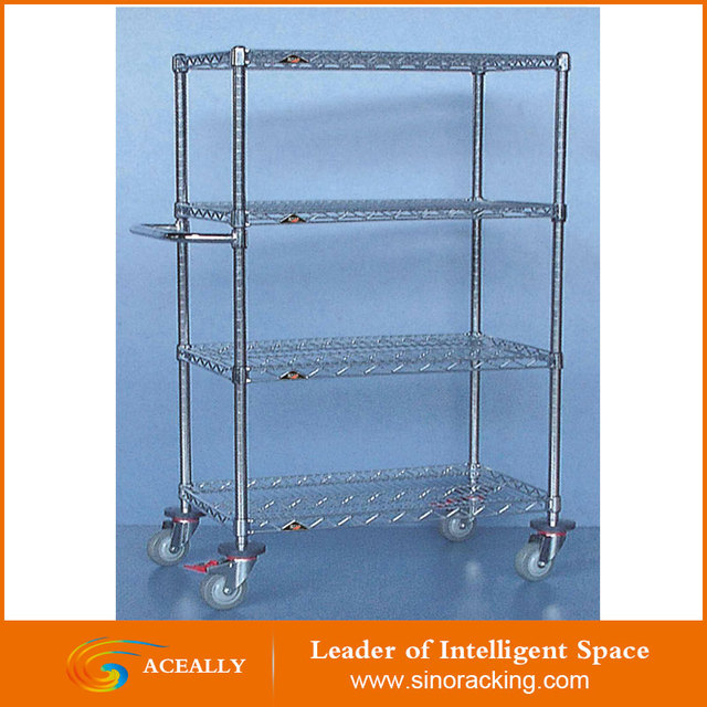 ISO Approved Industrial Chrome Wire Shelving Kit/Trolley