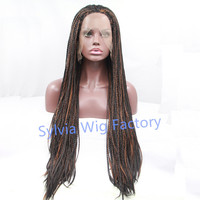 New arrival fashion african american premium black highlight brown braid wig natural Straight micro braided wigs lace front wig