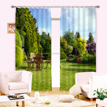 Trees and grass design printed curtains for living room