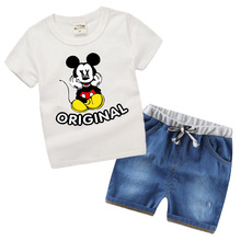 Boutique Kids clothing Summer 2017 Boys Suits Denim shorts Fashion Child Cartoon Mickey boys clothing sets TS01