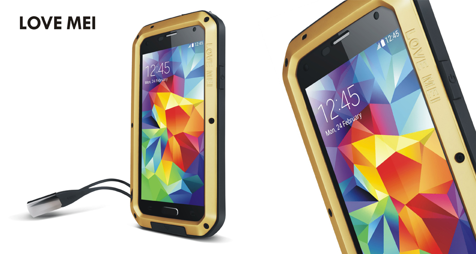 hot selling Original LOVE MEI Shockproof Aluminum phone case for samsung galaxy S5