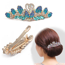 Wholesale flower shape alloy crystal large spring hair clip