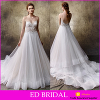 Charming Sleeveless Backless See through Beads Layers Train Wedding Dress Bridal