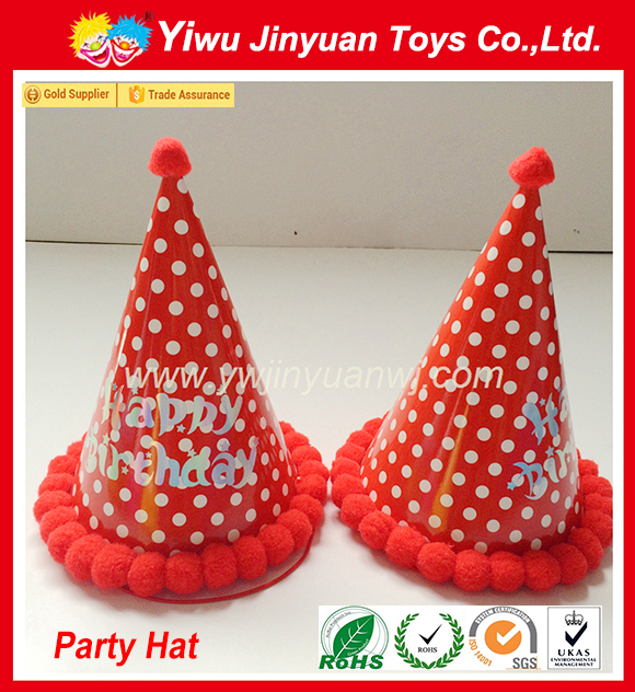 Hot sale color dot printed birthday paper hat with plush ball