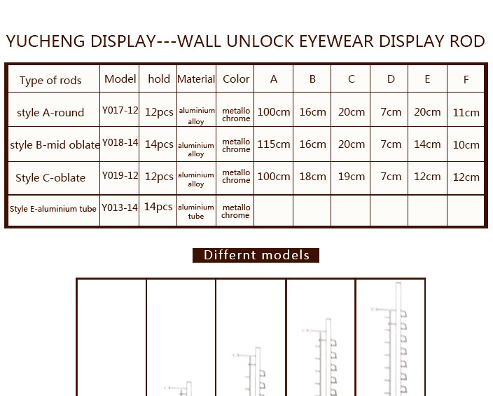 [YUCHENG] wall display rods for glasses Y017