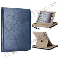 Multi-function Folio Style Leather Case for iPad2 New iPad iPad4 with Folding Holder+Strape+Zipper (Blue)