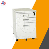3 drawer metal mobile pedestal storage file dental cabinet