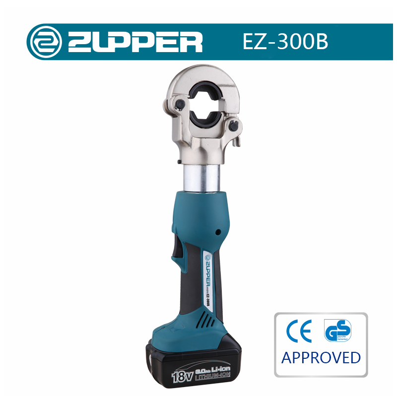 Zupper EZ-300B cordless hydraulic battery powered electrical wire lug crimping tool