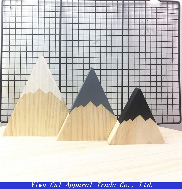 Wooden triangle three - piece ornaments photographic props children's room decoration